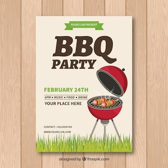 Bbq uitnodigingssjabloon met grill