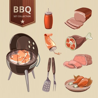 Bbq-vlees vectorelementen vintage barbecue. grill eten, retro design, hete steak set