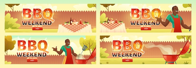 Bbq weekend flyers set