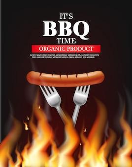Bbq worst vuur sjabloon hete grill