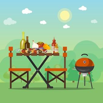 Bbq zomer partij vector illustratie. barbecue eten is op de houten tafel. grillpicknick met smakelijke maaltijd op het zonnige gebied dichtbij het bos