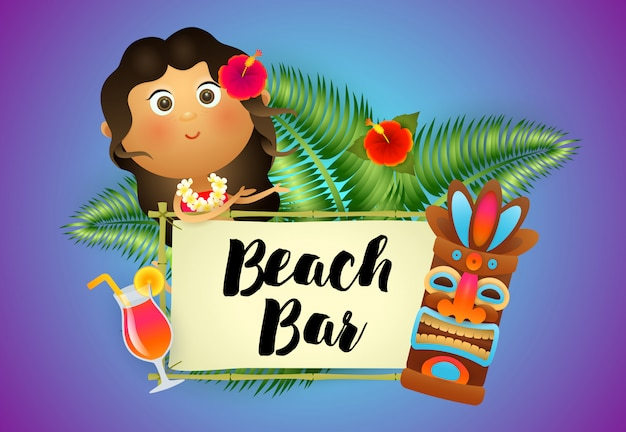 Beach bar belettering met aboriginalvrouw, cocktail en tiki masker