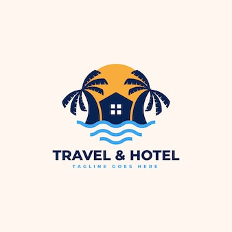 Beach house logo ontwerpsjabloon - beach resort, villa en beach hotel-logo