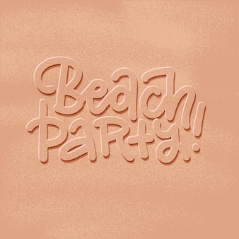 Beach party banner nieuwe trendy realistische zand textuur met belettering woorden