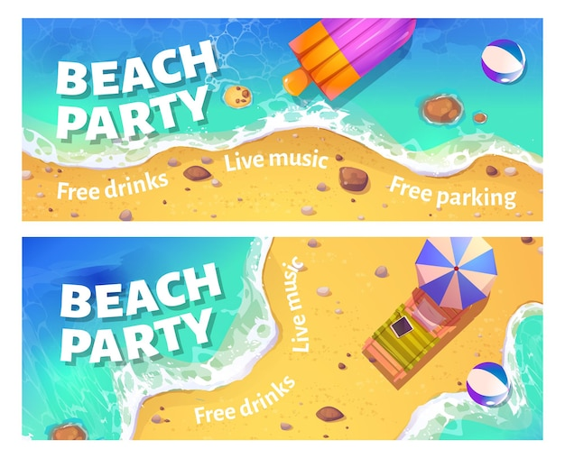 Beach party cartoon banner met vrouw drijvend in de oceaan op opblaasbare ring bovenaanzicht uitnodigingskaart of poster voor zomervakantie entertainment met gratis drankjes en livemuziek