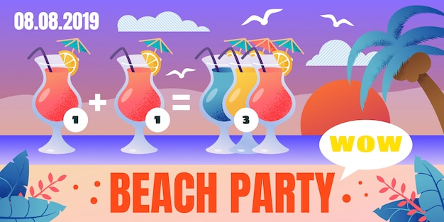 Beach party cocktails poster met speciale aanbieding