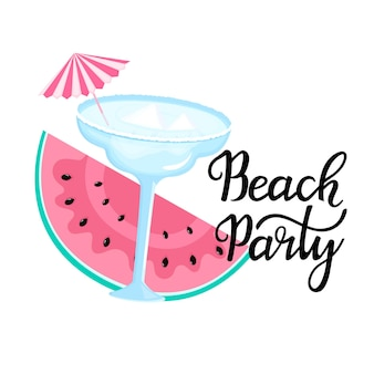 Beach party handgetekende letters. margarita-cocktail met ijsblokjes en paraplu. segment van watermeloen. kan worden gebruikt als t-shirtontwerp.