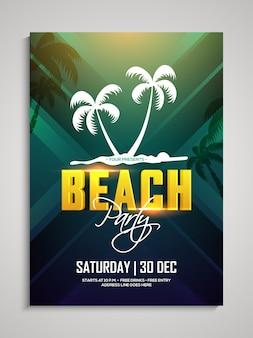 Beach party template, beach dance party flyer, summer party banner of uitnodiging presentatie met datum en plaats details.