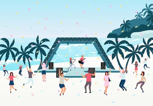Beach party vlakke afbeelding. live-uitvoering in open lucht.