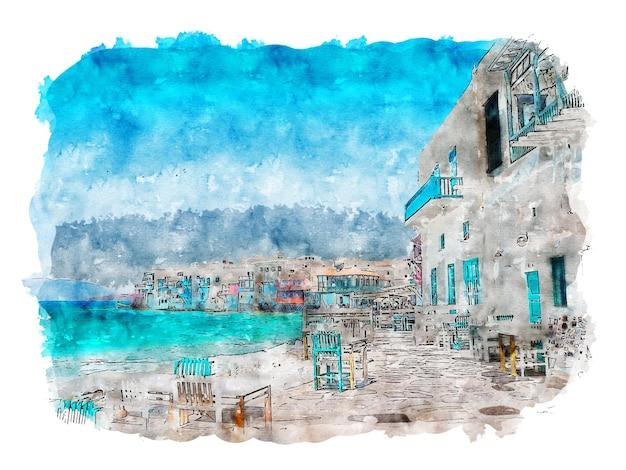 Beach town aquarel strandrestaurants aquarel zee aquarel