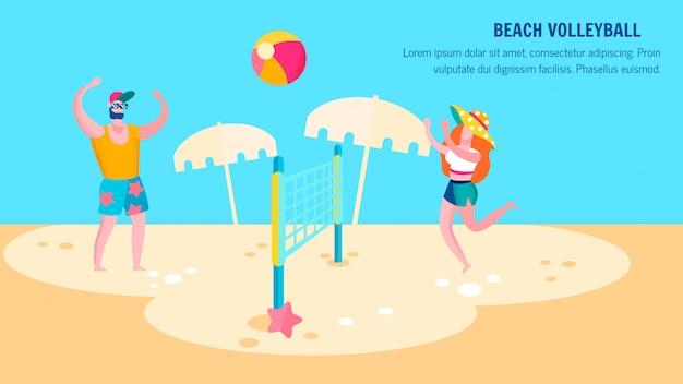Beach volleybal concurrentie platte sjabloon voor spandoek