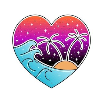 Beach wave monoline-badge