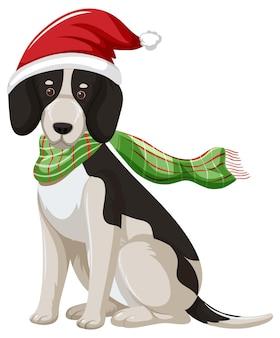 Beagle dog met kerstmuts stripfiguur