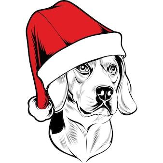Beagle hond met kerstmuts voor kerstmis