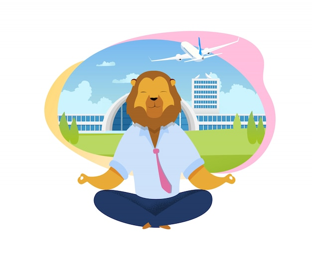 Beambte met leeuwhoofd die clipart mediteren