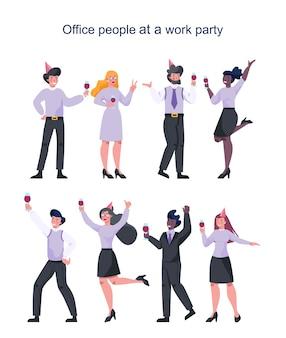 Beambte op werkfeest set. verzameling van mensen uit het bedrijfsleven in feestmuts dansen met een glas alcohol. werknemer met plezier op de werkplek.