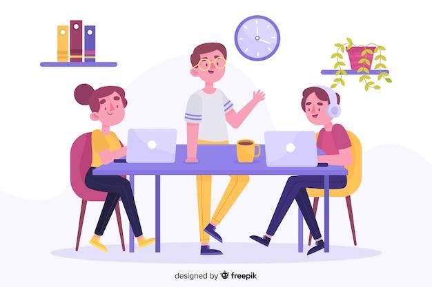 Beambten die bij bureaus zitten