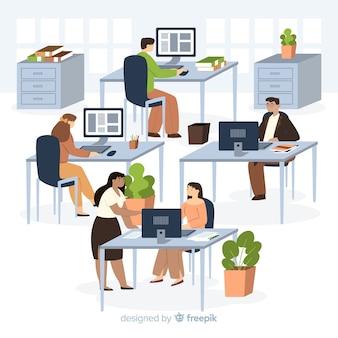 Beambten die bij geïllustreerde bureaus zitten