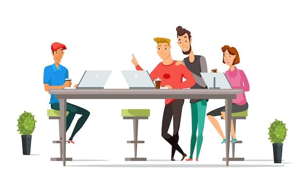 Beambtenkarakters, zakenlieden en onderneemsters op open ruimtekantoor.