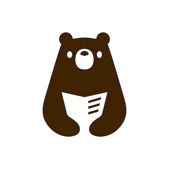 Bear boek lezen krant negatieve ruimte logo vector pictogram illustratie