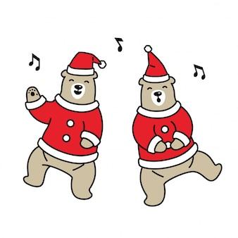 Bear christmas santa claus cartoon zingen