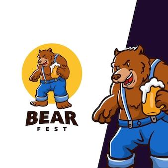 Bear fest karakter mascotte logo