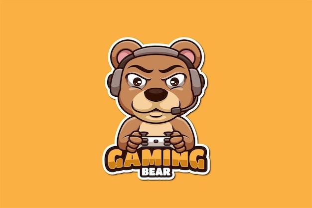Bear gaming cartoon mascotte logo ontwerp