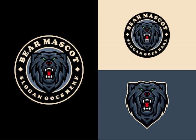 Bear grizzly creatief modern embleem uniek logo-ontwerp
