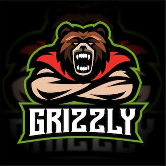 Bear grizzly mascotte gaming-logo