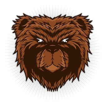 Bear head illustratie gedetailleerd vector ontwerpconcept