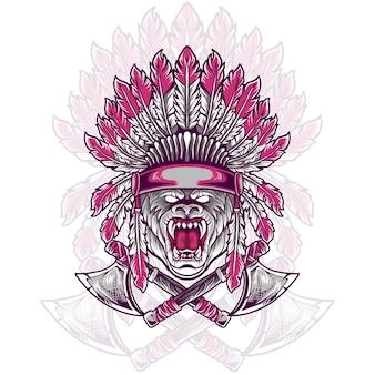 Bear head indian native