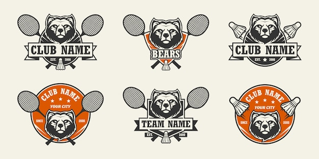 Bear head sport logo. set badminton logo's.