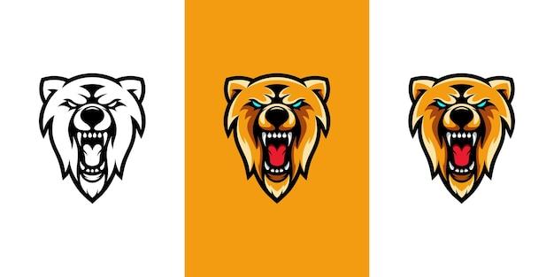Bear hoofd e sport mascotte logo ontwerp