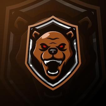 Bear hoofd mascotte esport illustratie