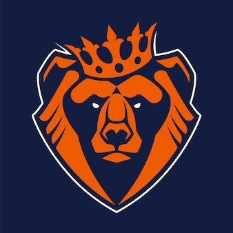 Bear in crown mascot