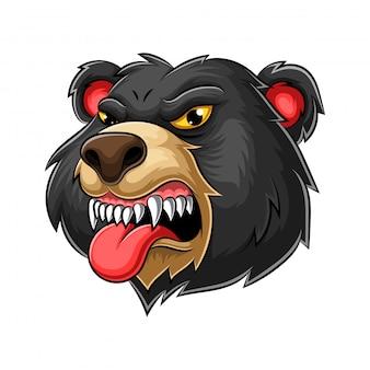 Bear logo ontwerp mascotte illustratie Premium Vector