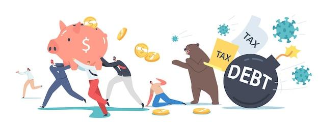 Bear market bij covid-19 virus pandemic, stock market panic sell vanwege nieuw coronavirus. karakters van zakelijke investeerders lopen weg van pathogene cellen en berenklauwen. cartoon mensen vectorillustratie