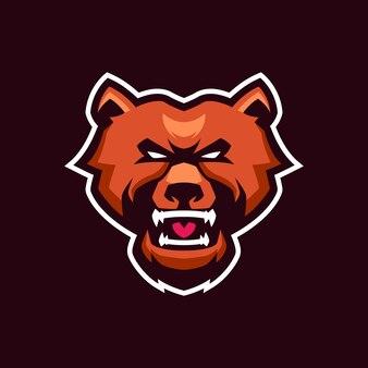 Bear mascotte logo sjablonen