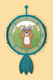 Bear op dromenvanger schattige hippie cartoon