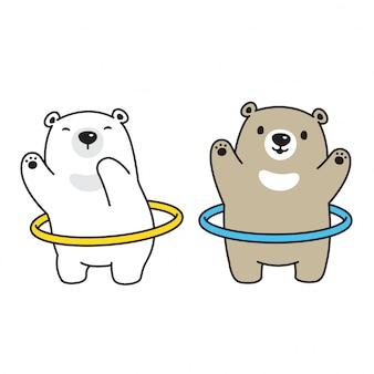 Bear polar bear hula hoop sport stripfiguur