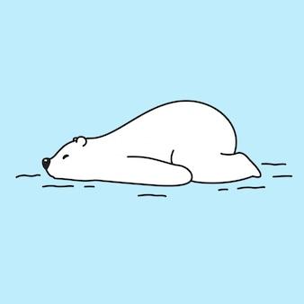 Bear polar bear slapende stripfiguur van het ijs