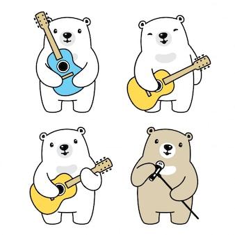 Bear polar cartoon karakter gitaar muzikant zanger