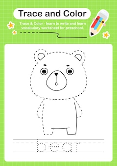Bear trace en kleur voorschoolse werkbladtracering