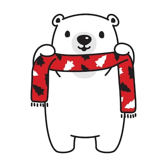 Bear vector ijsbeer kerstboom sjaal cartoon