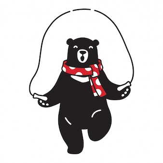 Bear vector polar bear jumping gewaad