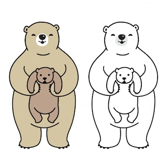 Bear vector polar bear kid stripfiguur