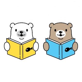 Bear vector polar bear lezen boek stripfiguur