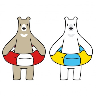 Bear vector polar bear zwemmen ring zwembad cartoon