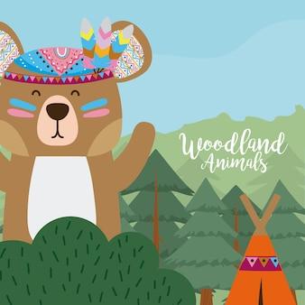 Bear woodland animals cute cartoons