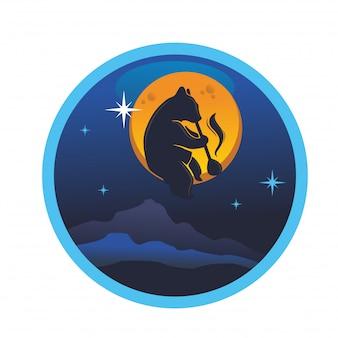 Bear zittend op de maan en blaas het pijplas